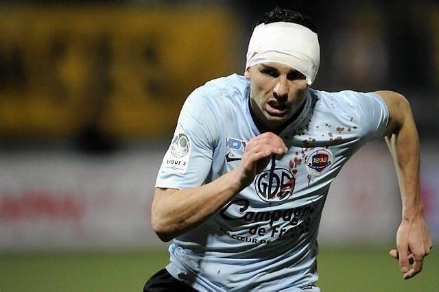 Sur son but de la 89e signé de la tête à Nancy, Mathieu Duhamel a reçu un bon coup de coude qui lui a valu quelques points de suture pour finir la rencontre...