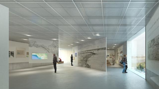 photo au premier, au-dessus de l'accueil, le hall permanent avec une scénographie pour le grand public. © ouest-france