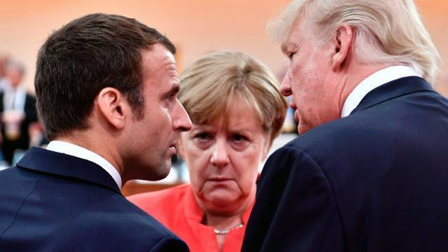 photo emmanuel macron, angela merkel et donald trump. © afp