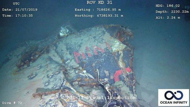 photo la « minerve » a été retrouvée à plus de 2 000 m de profondeur, à 45?km au sud de toulon. © marine nationale / epa / maxppp